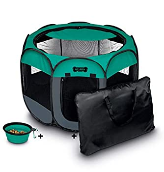 Ruff  n Ruffus Portable Foldable Pet Playpen + Free Carrying Case + Free Travel Bowl | Available in 3 Sizes Indoor/Outdoor Water-Resistant Removable Shade Cover