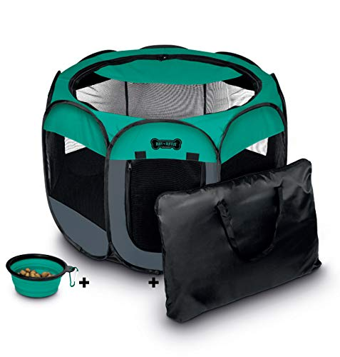 Ruff 'n Ruffus Portable Foldable Pet Playpen + Carrying Case & Collapsible Travel Bowl (Extra Large (48' x 48' x 23.5')) (Medium (29' x 29' x 17') with Free Bonus, Aqua)
