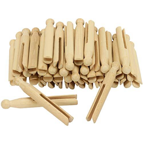 Rundkopfklammern 50 Stück, tolle Wäscheklammern Set mit Rundkopf, Länge: ca. 11 cm groß ✓ Schlitzbreite ca. 4-mm ✓Material: Buchenholz ( Natur ) ✓ ohne Feder ✓ hervorragende Qualität ✓ Holzklammern ideal für herrliche Bastelarbeiten ✓ zum Basteln Stecken | Beschriften | Aufstecken ✓ ohne Dekoration (Holzklammern sind ungestaltet / blanko) | trendmarkt24 – 224580