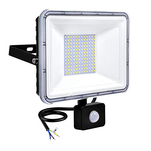 Faretto LED da Esterno con Sensore di Movimento 100W 8000LM Luci di Sicurezza 6500K Bianco Freddo, Impermeabile IP67 Lampade di Sicurezza per Giardino Cortile Garage Eaves