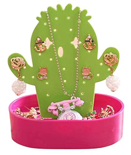 SXCV Soporte de Joyería, Exhibición de La Joyería, Titular de Pendientes, Titular de La Joyería, Bandeja Organizadora de Joyas de Cactus para Mujeres, Niñas, Vacaciones,Pink