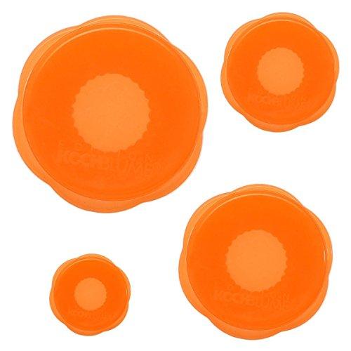 Kochblume Stretchi Überzieher 4er-Set Silikon orange