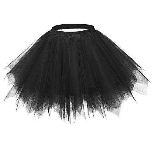 Ellames Women's Vintage 1950s Tutu Petticoat Ballet Bubble Dance Skirt Black 2XL
