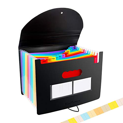 Accordian File Organizer,12 Pockets Expanding File Folder with Expandable Cover, Portable Filing Box Desktop Accordion Plastic Folders, Colored Paper/Document/Coupon/Receipt Organizer(A4/Letter Size)