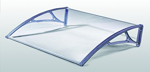 Pensilina Da Esterno In Policarbonato Compatto Trasparente. Supporti In Alluminio. Spessore 3 Mm.