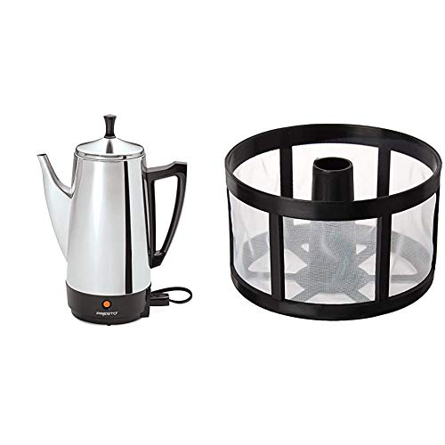 Presto 02811 12-Cup Stainless Steel Coffee Maker & Tops 55715 Perma-Brew 3 Year Re-useable Coffee Filter, Disk/Wrap Around