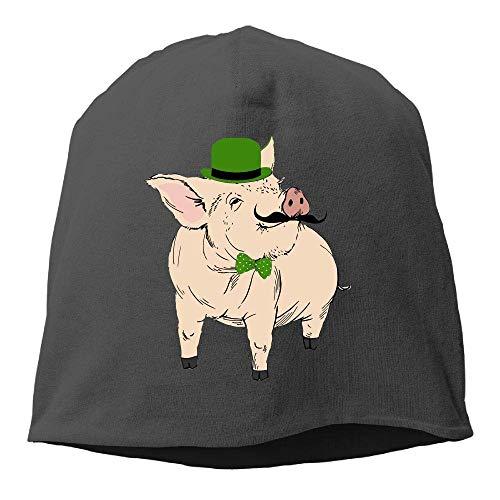 NA St. Patrick's Day Piggy.PNG Wintermütze mit Totenkopf-Mütze, warm, gestrickt, strapazierfähig