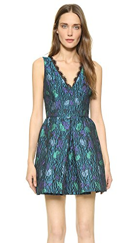 Cynthia Rowley Women's Fit and Flare Textured Jacquard Dress, Teal, 4