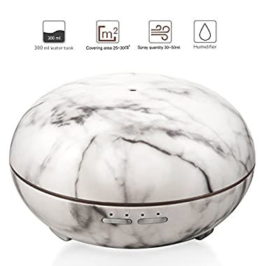 Elegant Choise Essential Oil Diffuser White Marble 300ml Adjustable Mist Size Ultrasonic Aroma Diffuser and Air Humidifier Waterless Auto Shut-off and 7 LED Light Colors for Office Home Gift