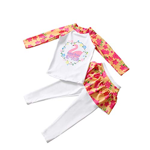 Yiwa kinderen meisjes strik print sneldrogend lange mouwen top broek set badpak moslim