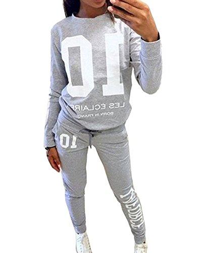 DTWYCQ Damen Jogginganzug Langarm Anzug Pullover Sportanzug Trainingsanzug Sweatshirt Anzug mit Hose 2pcs (Grau, M/EU36)