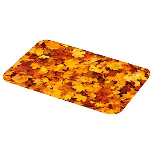 Garneck Felpudo Impreso 3D Hojas de Arce otoño Amarillo Antideslizante felpudos Antideslizantes Cocina baño Alfombra de Entrada Alfombra para baño Interior decoración 400x600mm