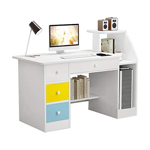 SHUDAGE Computer Desk Home Office Desks with Shelf, Student Study Desktop Desk Laptop Table Modern PC Workstation Dormitory Study Desk with 4 Bottom Storage Shelves and 4 Drawer (White)
