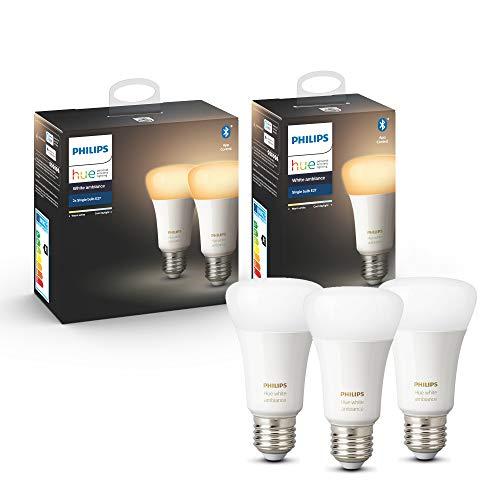 Philips Hue White Ambiance E27 LED Lampe 3-er Pack, dimmbar, alle Weißschattierungen, steuerbar via App, kompatibel mit Amazon Alexa (Echo, Echo Dot)
