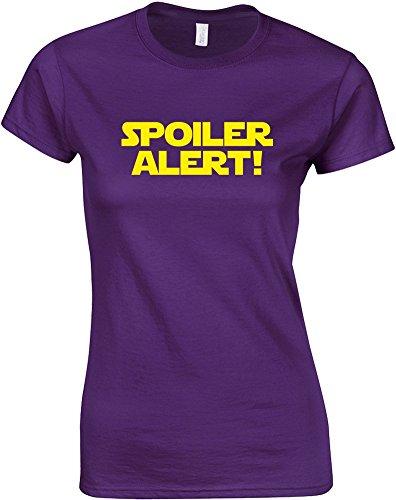 Brand88 Alerta de alerta, camiseta estampada para mujer, color morado/amarillo 2XL = 10-12