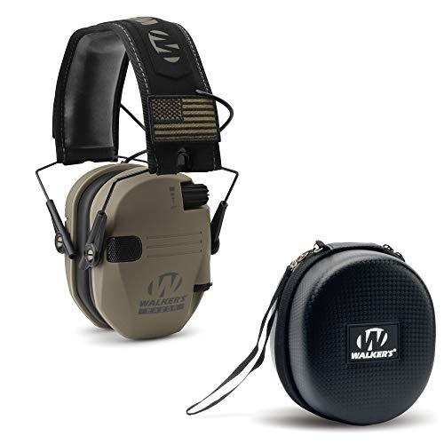 Walkers Razor Slim Electronic Low Profile Ear Muffs & Storage Carrying Case