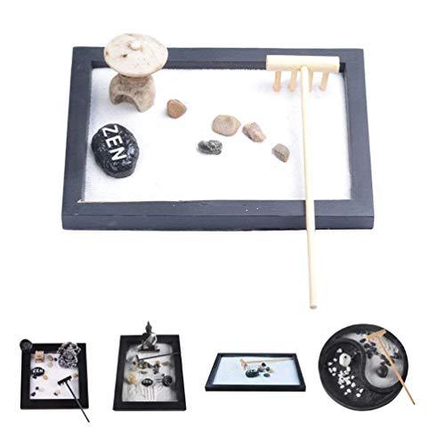 DULALA Mini Table de Jardin Zen avec Galets de hochet et décoration de Sable, Bureau à Domicile (15x11x1cm)
