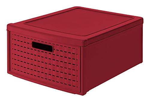 Rotho Country Schubladenbox 19.2l mit 1 Schub in Rattan-Optik, Kunststoff (PP) BPA-frei, rot, groß/19,2l (45,0 x 34,0 x 20,0 cm)