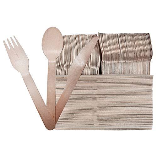 BELLE VOUS 200-teiliges Holzbesteck Set - Gabeln (100), Löffel (50) und Messer (50) - naturfreundlich besteck aus Holz Geschirr - Reise Besteck für Partys, Hochzeiten und Picknicks