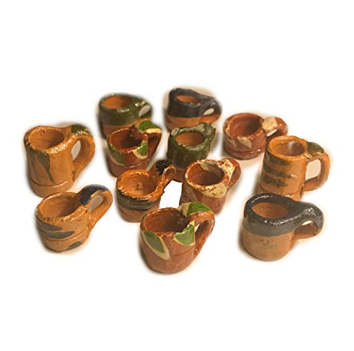 12 Mini Mexican Pottery Ceramic Mud Mugs Jarritos For Arts and Crafts Party Favor Decorations