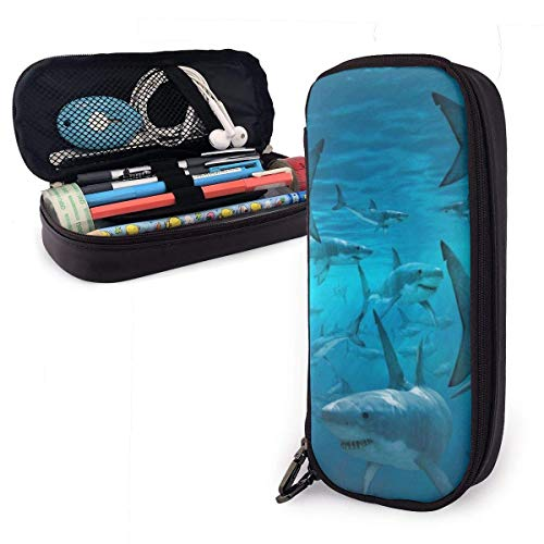 Ocean Shark Frenzy Pu Leather Pencil Case,Durable Students Stationery Organizers with Double Zipper Elastic Belts for School Office 4x9x20 cm