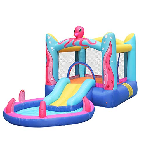 Inflatable Slide Trampoline Pool with Long Slide Climbing Wall Children's Castle Bouncing Room Inflatable Trampoline with hairdryer and Jumping Castle with Slide and Sprinkler (Multicolored)