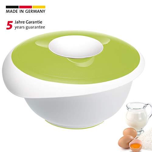 Westmark Rühr-/Backschüssel mit Spritzschutz, Deckel und Ausgießer, Kunststoff, Füllvolumen: 3,5 Liter, Weiß/Apfelgrün, 3155227A