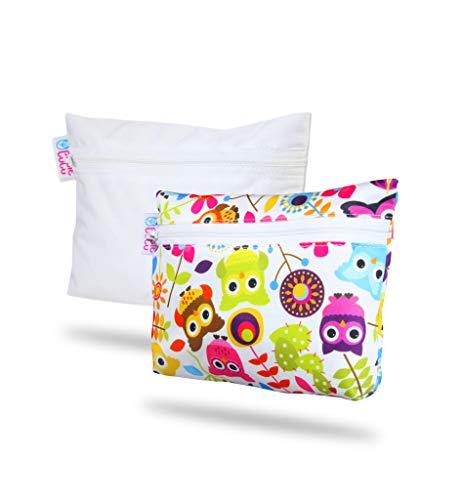 Petit Lulu wasserdichter Nasstasche 2er Pack | Wiederverwendbare Binden und Menstruationstassen | Wäschbaar und Wasserdicht | Organiser Täschlein | Hergestellt in EU (Eulen/Weiß)