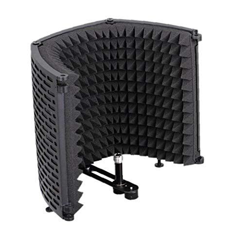 DierCosy Tools Micrófono de Sonido del micrófono Espuma Absorbente de Aislamiento del Escudo Protector de la Cubierta de plástico de insonorización insonoro Micrófono Pantalla Negro de Tres Pu