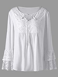Plus Size Lace Trim Layered Sleeve Blouse - White 3xl
