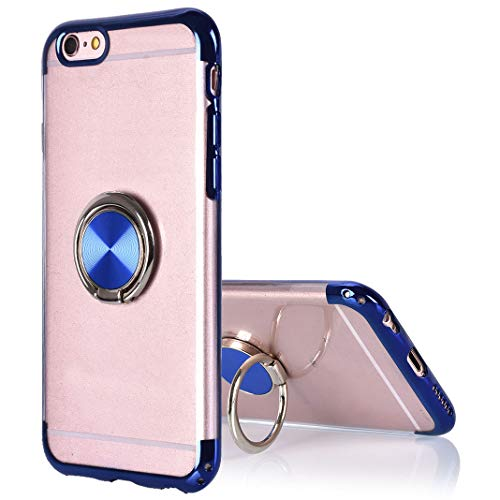Kompatibel mit iPhone 6S Hülle Transparent, Soft Schutzhülle mit 360°Finger Griff Halter Magnetische Autohalterung Durchsichtig Tasche Kompatibel mit Apple iPhone 6/6S Dünn Schutz Cover Schale Skin