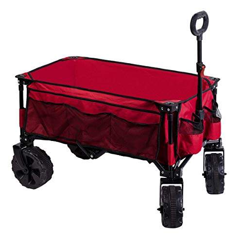 Timber Ridge Folding Wagon Collapsible Utility Outdoor Cart for Camping/Garden/Beach/All Terrain, Side Bag & Cup Holders, Red