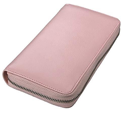 Custodia in pelle per carte di credito RFID viaggio passaporto portafoglio tasche con cerniera - - Taglia unica