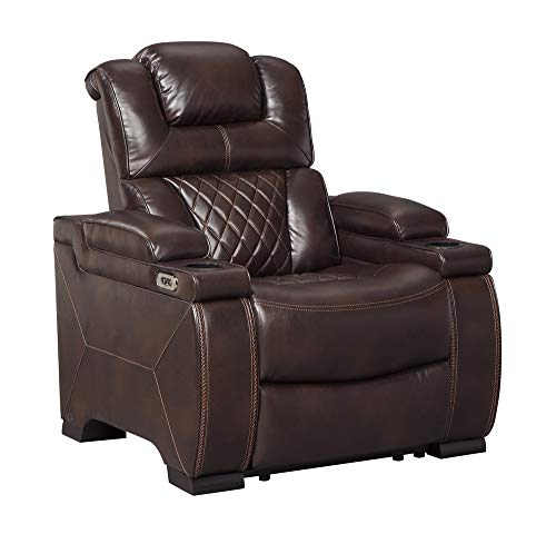 Signature Design by Ashley - Warnerton Casual Faux Leather Power Recliner - Adjustable Headrest - Brown