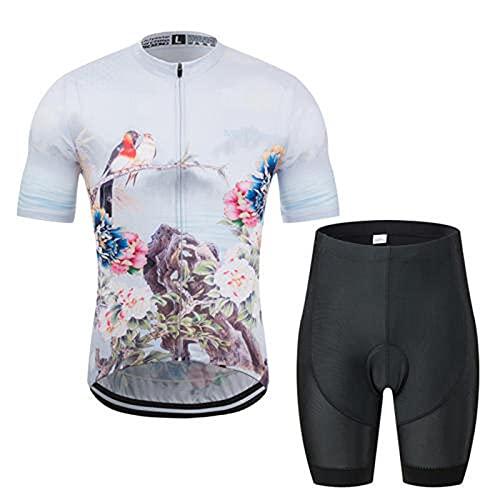 HXTSWGS Traje MTB Maillot Bicicleta Mangas Cortas,Servie de Ciclismo, Zapatillas de Deporte de Humedad, Pantalones Cortos con Tirantes de Manga Corta-B_4XL