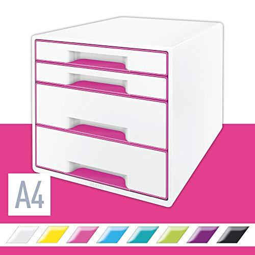 LEITZ 52132023 - Bucs de cajones WOW Desk Cube NUEVA VERSIÓN 4 cajones (2 grandes y 2 pequeños) color fucsia metalizado/blanco