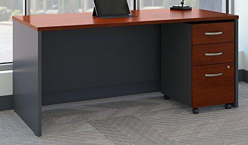 Bush Business Furniture Series C Office Desk with Mobile File Cabinet, 66W x 30D, Hansen Cherry