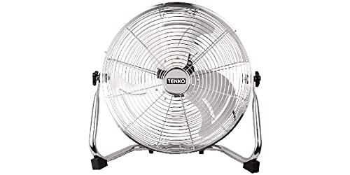TENKO, Ventilador de pie de acero, ventilador industrial de suelo, ventilador grande con pala de acero de 40 cm, 3 velocidades, inclinación variable, potencia de 90 W, ventilador profesional.