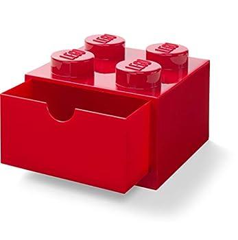 LEGO 40201730 Desk Drawer 4 knobs Stackable Storage Box Red