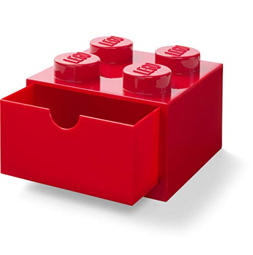 LEGO 40201730 Desk Drawer 4 knobs Stackable Storage Box, Red