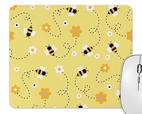Yellow Bumble Bee Print Pattern Mouse Pad - Rectangle - 9.25x7.75