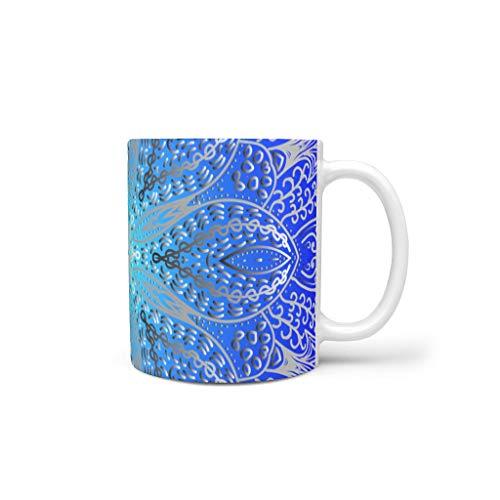 XJJ88 Donkerblauwe mandela Mixen Koffiemok Bekers met Handvat Keramische Personaliseer Beker - Mandela Art Klasgenoot Geschenk, Pak voor Dorm gebruik (11 OZ)