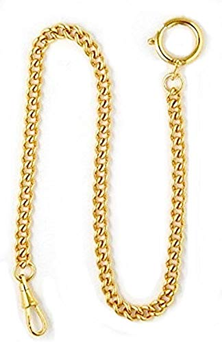 Dueber Yellow Gold Plated Stainless Steel Pocket Watch Chain with Spring Ring