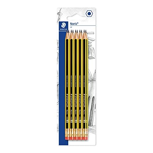 STAEDTLER 122-2 BK10 Noris Bleistift (HB, sechskant, mit Radiergummi, Set mit 10 unglaublich bruchfesten Bleistiften, hohe Qualität Made in Germany, der bewährte Klassiker)