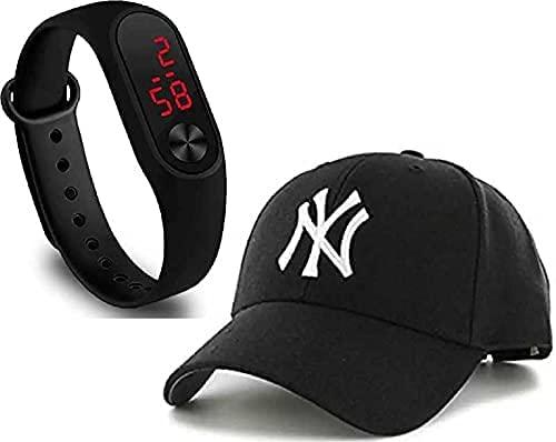 Selloria Black dial Digital Black Baseball Embroidered Cap for Boys Mens,Kids