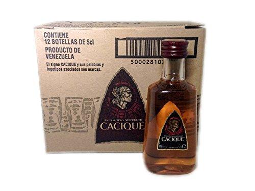 Pack 12 botellitas ron Cacique Añejo 50ml miniatures