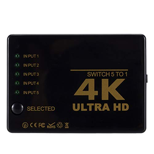 Selector de vídeo de control remoto HD 5 a 1 interruptor de señal de vídeo conmutador de resolución 4K soportada