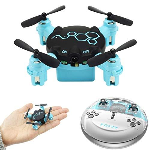 Geschenke für Kinder Vater Mutter, 0.3MP Käfer Mini Pocket Drohne mit Kamera Headless Modus RC Quadcopter RTF-360 ° Flips, eingebaute Kamera, LED-Lichter,Blue