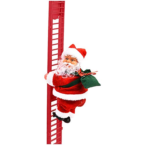 Mr. Christmas Electric Climbing Ladder,Santa Holiday Decoration, Super Climbing Santa Claus, Deluxe Stepping Santa Claus,Gift Toy,Plush Doll (red)
