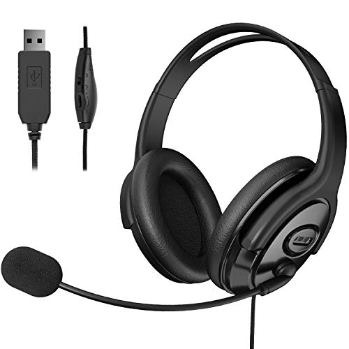 EBODA USB Headset Computer Headphone with Microphone Noise Cancelling, Lightweight PC Headset Wired Headphones, Comfort-fit Office Headset for Skype, Webinar, Cell Phone, Call Center